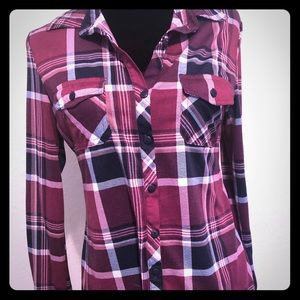Tops - Burgundy Fitted Plaid Button Up- Medium